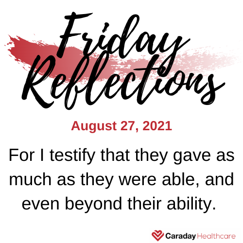 Friday Reflections – August 27, 2021